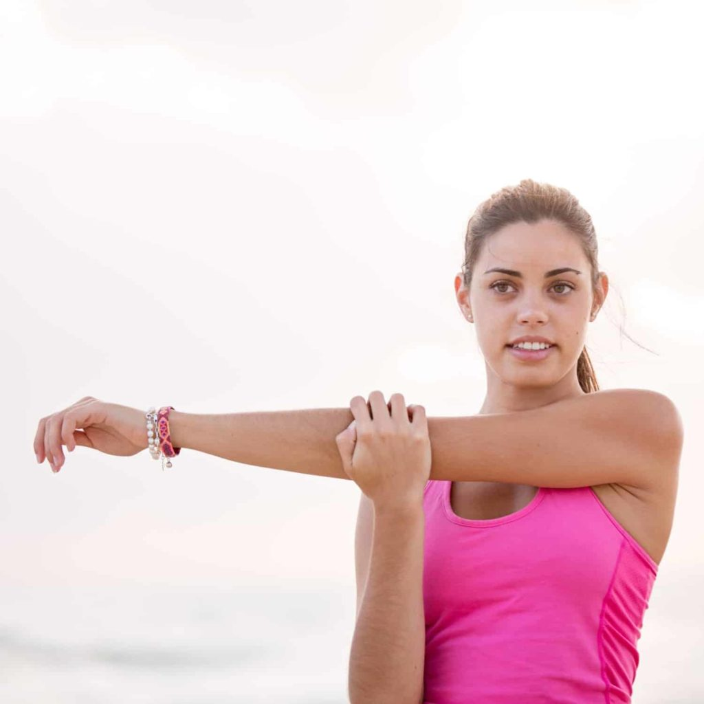 Lady stretching her arm