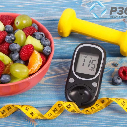 Blood Sugar Monitor With Fresh Fruit And A Dumbbell